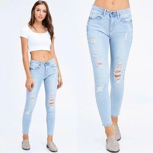 Denim - Light Blue Distressed Denim Jeans